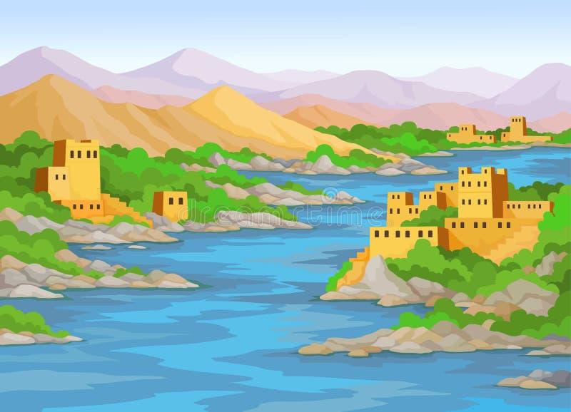 Animacja krajobraz: rzeka, antyczny wschodni miasto, góry royalty ilustracja
