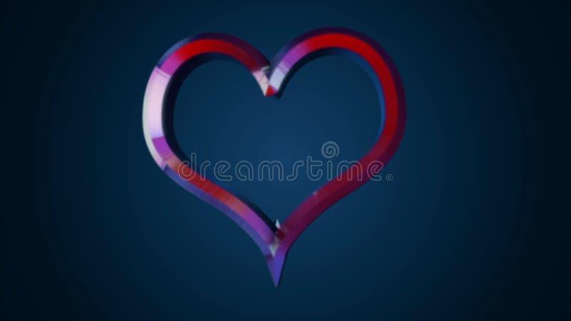 Animacja latający serce na odosobnionym tle animacja 3D kształta znaka kierowe deklaracje miłość lub prezent na dniu ilustracja wektor