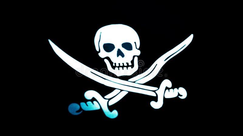 Animacja pirat flaga zbliżenie Byczy Roger jest tradycyjnym angielszczyzny imieniem dla flaga latać utożsamiać pirata statek woko zdjęcie stock