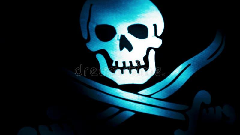 Animacja pirat flaga zbliżenie Byczy Roger jest tradycyjnym angielszczyzny imieniem dla flaga latać utożsamiać pirata statek woko zdjęcie royalty free