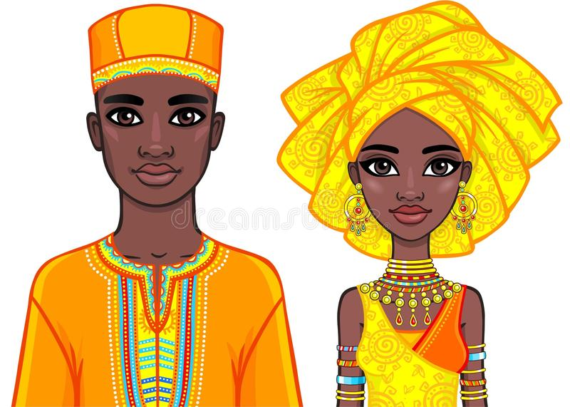 Animacja portret Afrykańska rodzina w jaskrawy etnicznym odziewa