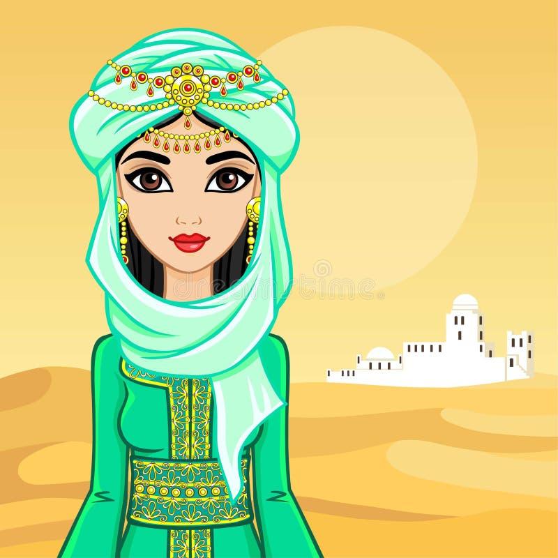 Animacja portret Arabska kobieta w antycznym odziewa