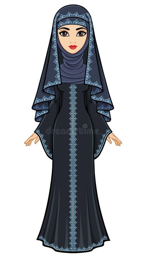 Animacja portret Arabska kobieta w tradycyjnym kostiumu