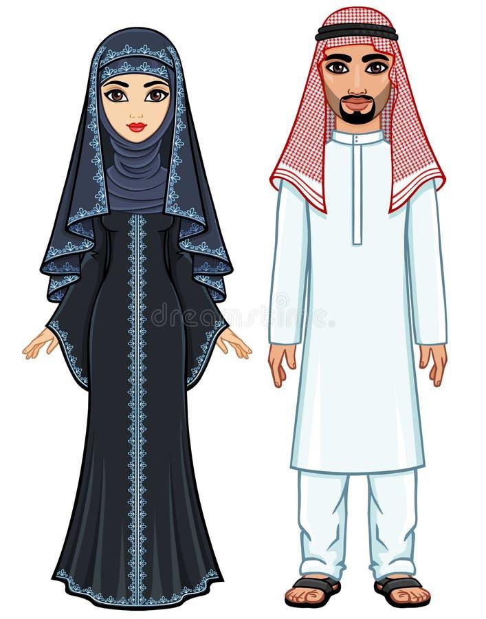 Animacja portret Arabska rodzina w tradycyjnym odziewa