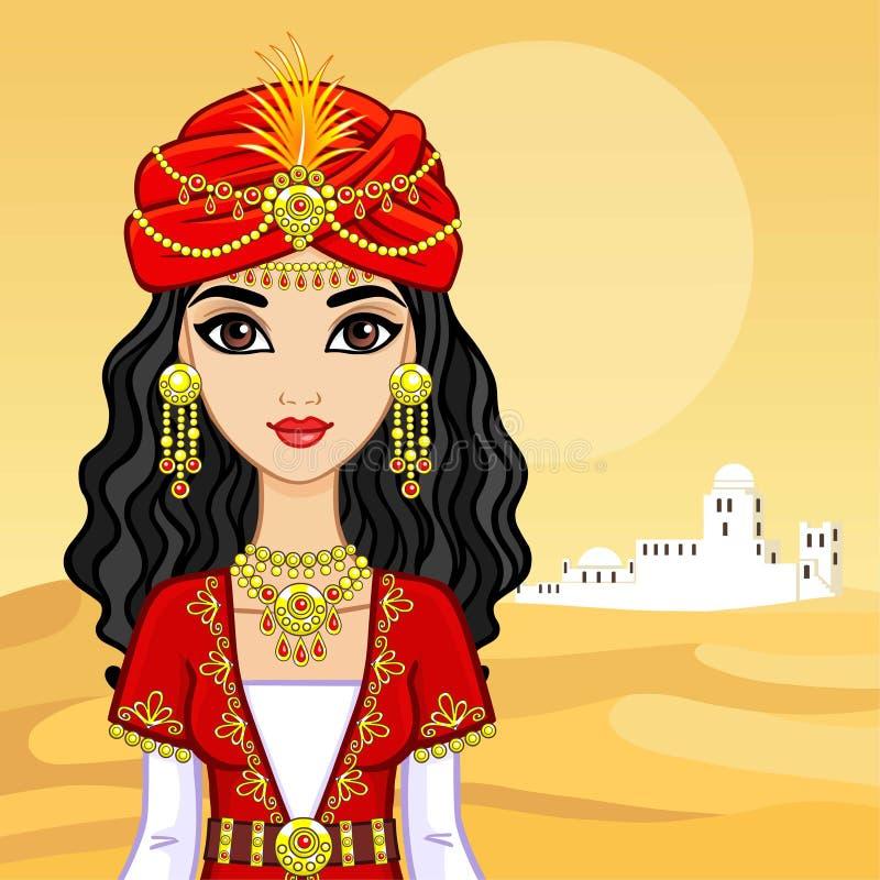 Animacja portret Arabski princess w antycznym odziewa
