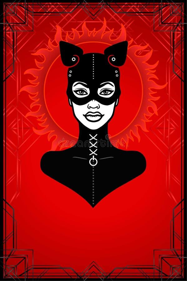 Animacja portret kobieta w czarnym lateksowym maska kocie i kostiumu ilustracja wektor
