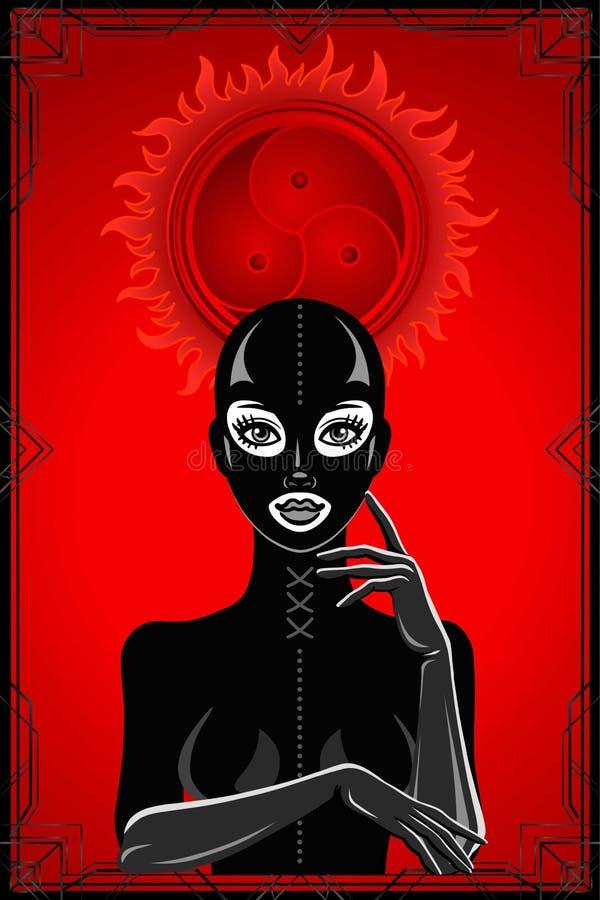 Animacja portret kobieta w lateksowej masce i kostiumu royalty ilustracja
