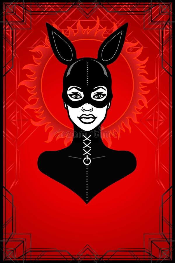Animacja portret kobieta w lateksowym maska króliku i kostiumu royalty ilustracja