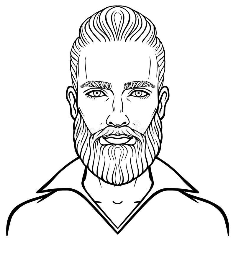 Animacja portret młody atrakcyjny brodaty mężczyzna z elegancką fryzurą royalty ilustracja