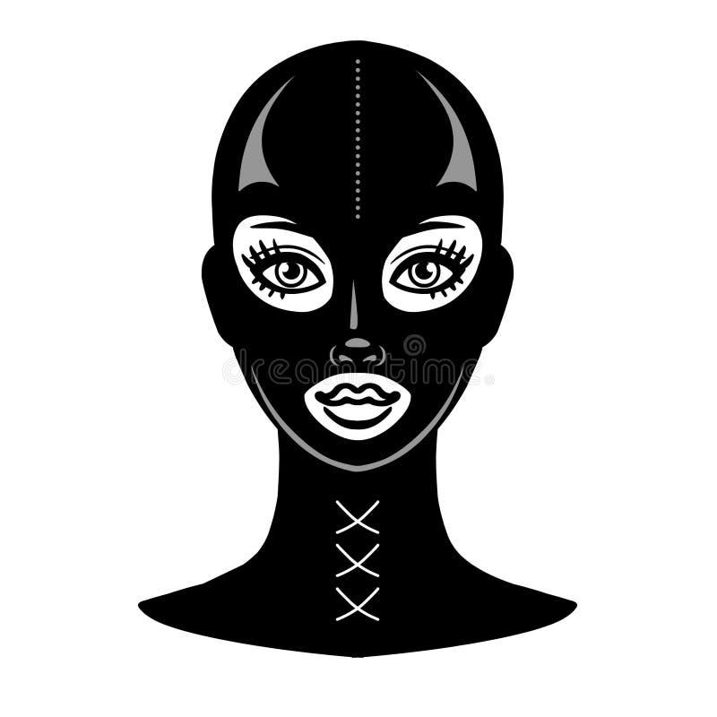 Animacja portret piękna dziewczyna w czarnej lateks masce ilustracja wektor