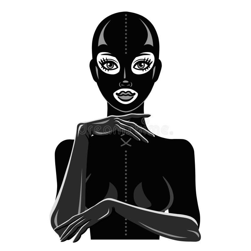 Animacja portret piękna dziewczyna w czarnej lateksowej masce i kostiumu ilustracji