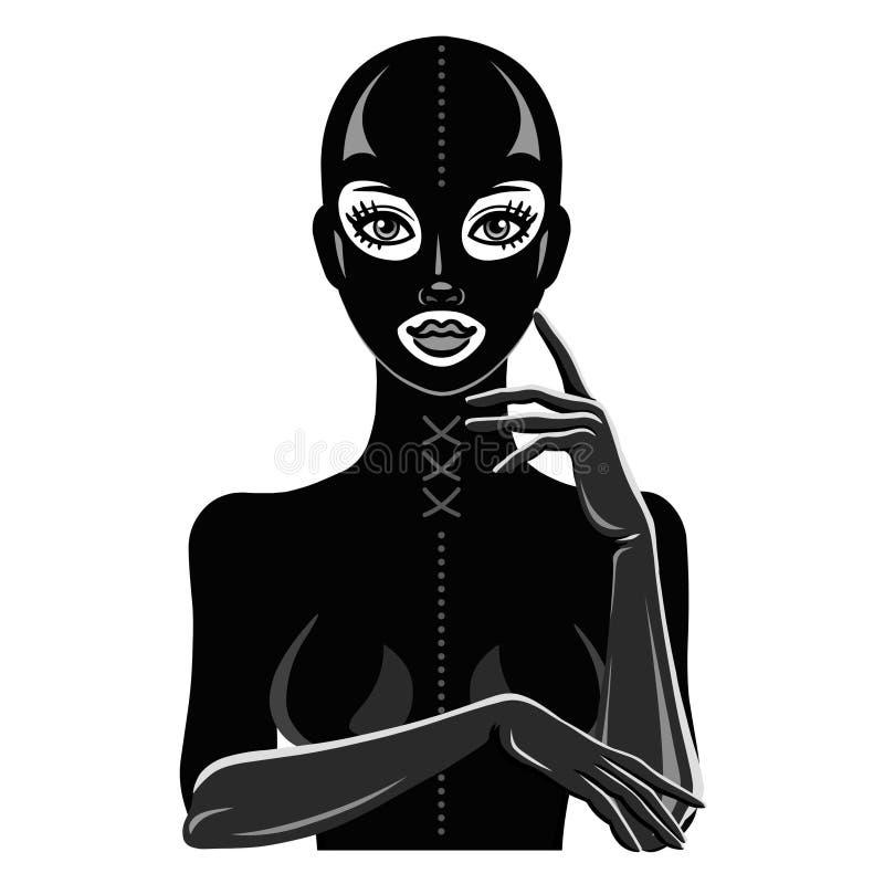 Animacja portret piękna dziewczyna w czarnej lateksowej masce i kostiumu ilustracja wektor