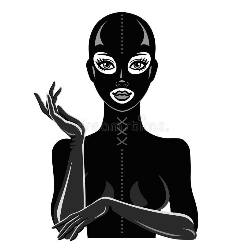 Animacja portret piękna dziewczyna w czarnej lateksowej masce i kostiumu royalty ilustracja