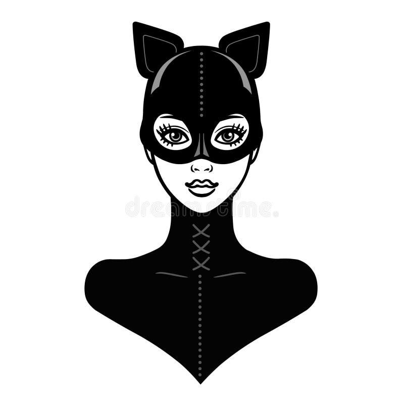 Animacja portret piękna dziewczyna w czarnym lateksowym maska kocie i kostiumu ilustracji