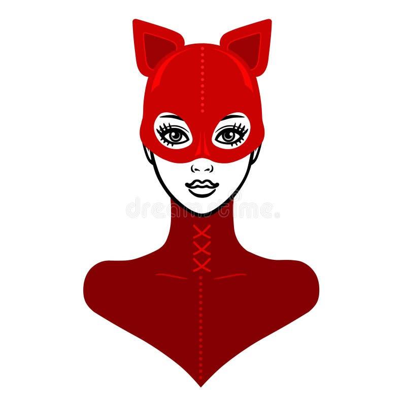 Animacja portret piękna dziewczyna w czerwonym lateksowym maska kocie i kostiumu royalty ilustracja