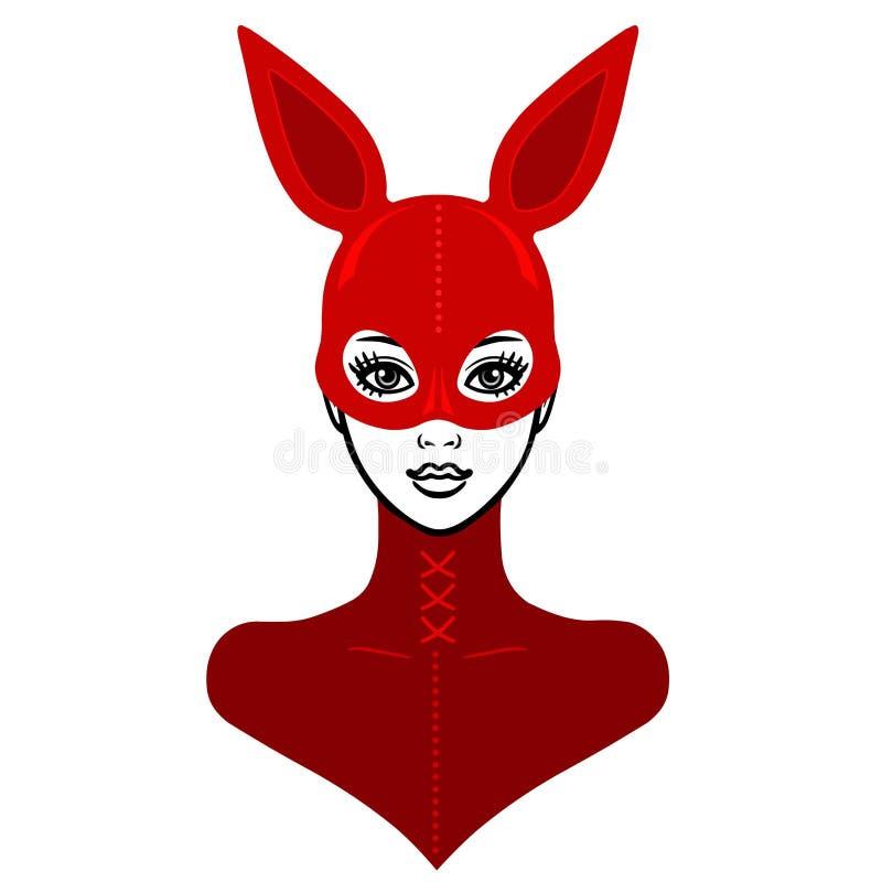 Animacja portret piękna dziewczyna w czerwonym lateksowym maska króliku i kostiumu royalty ilustracja