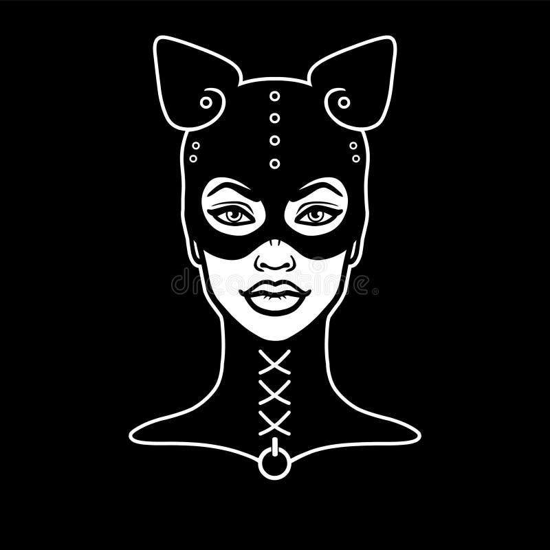 Animacja portret piękna dziewczyna w masce kot ilustracja wektor