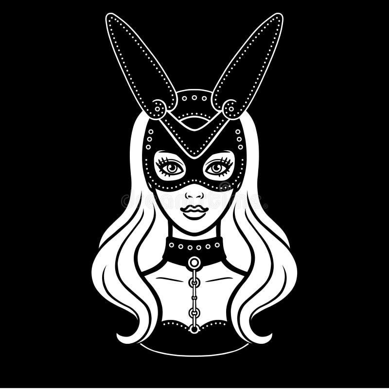 Animacja portret piękna dziewczyna w masce królik royalty ilustracja