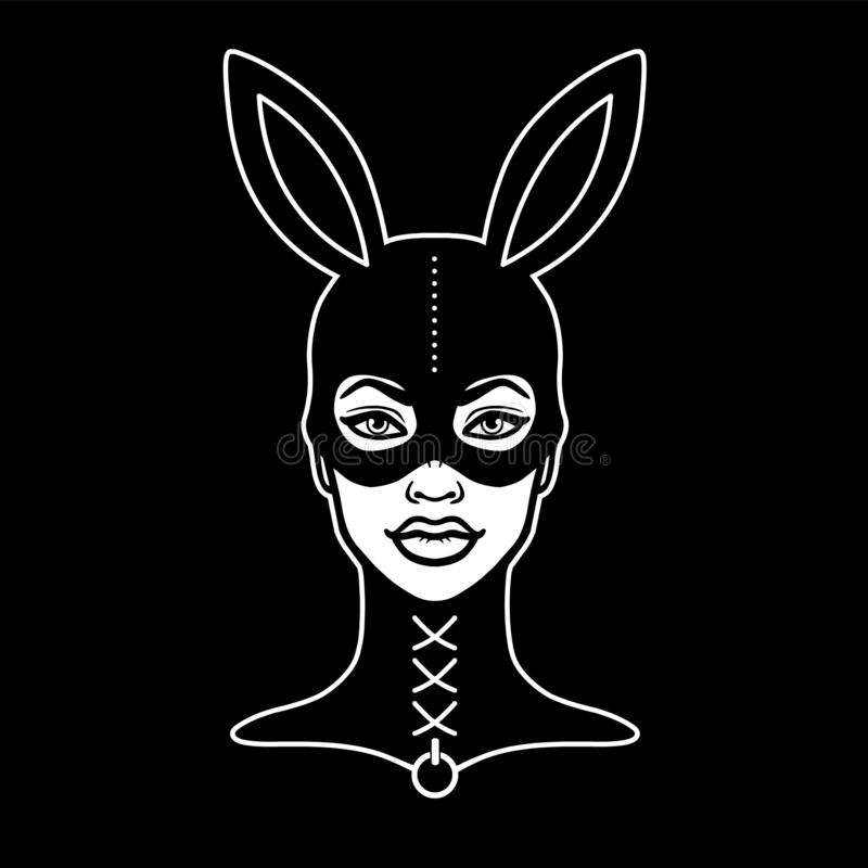 Animacja portret piękna dziewczyna w masce królik ilustracja wektor