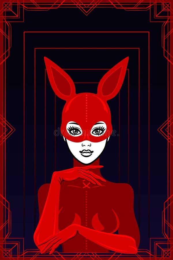 Animacja portret piękna kobieta w lateksowym maska króliku i kostiumu ilustracja wektor