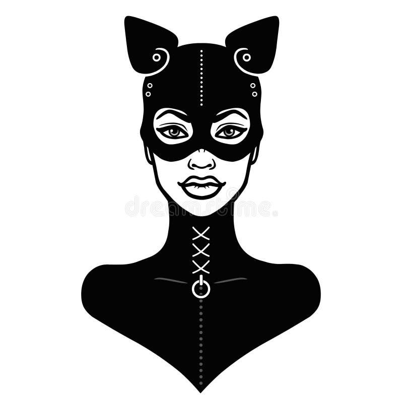 Animacja portret piękna dziewczyna w czarnym lateksowym maska kocie i kostiumu royalty ilustracja