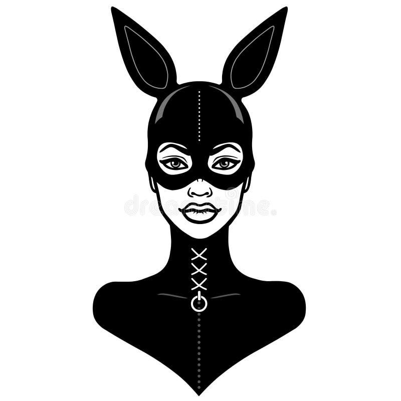 Animacja portret piękna dziewczyna w czarnym lateksowym maska króliku i kostiumu ilustracji