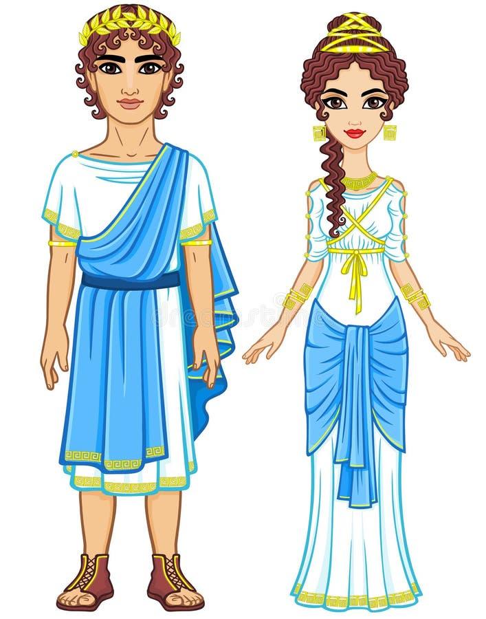 Animacja portret rodzina w ubraniach Antyczny Grecja ilustracja wektor