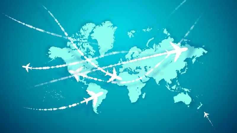 Animacja samoloty wznosi się nad kontynentami ilustracji
