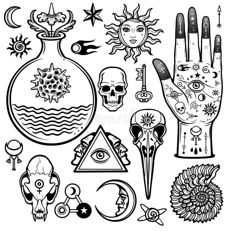 Animacja ustawiająca alchemical symbole Ezoteryk, mistycyzm, okultyzm ilustracja wektor