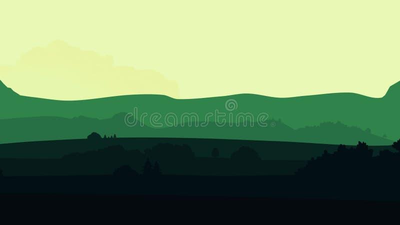 Animacji chodzenie krajobraz w kreskówka stylu Cyfrowego projekta pojęcie Animacji gór tła pętla royalty ilustracja