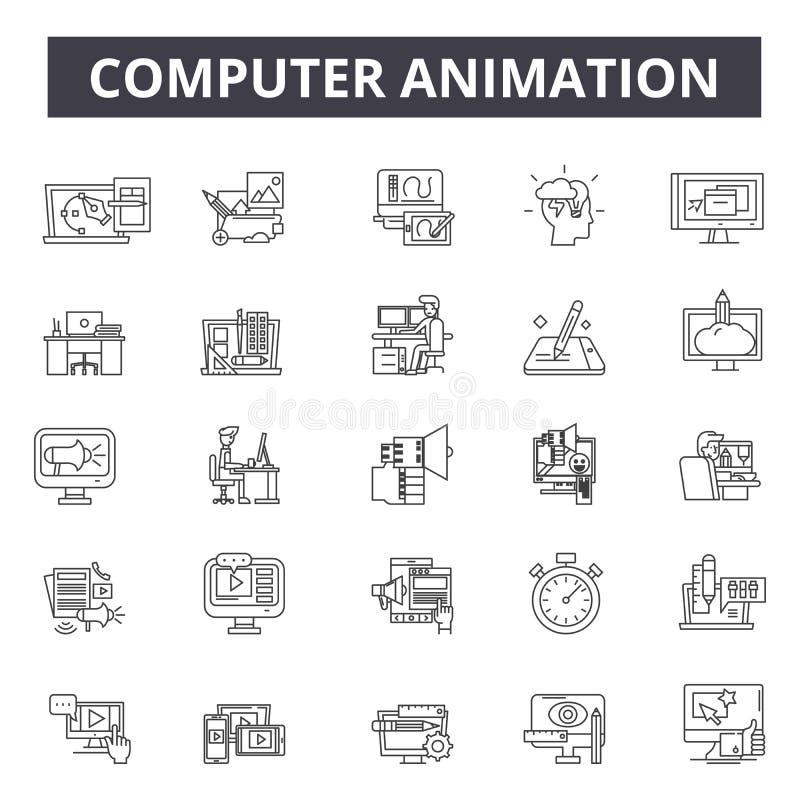 Animacji komputerowych kreskowe ikony, znaki, wektoru set, kontur ilustracji pojęcie ilustracji