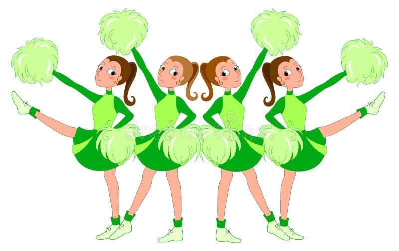 Animadoras en el verde - ilustración vectorial stock de ilustración