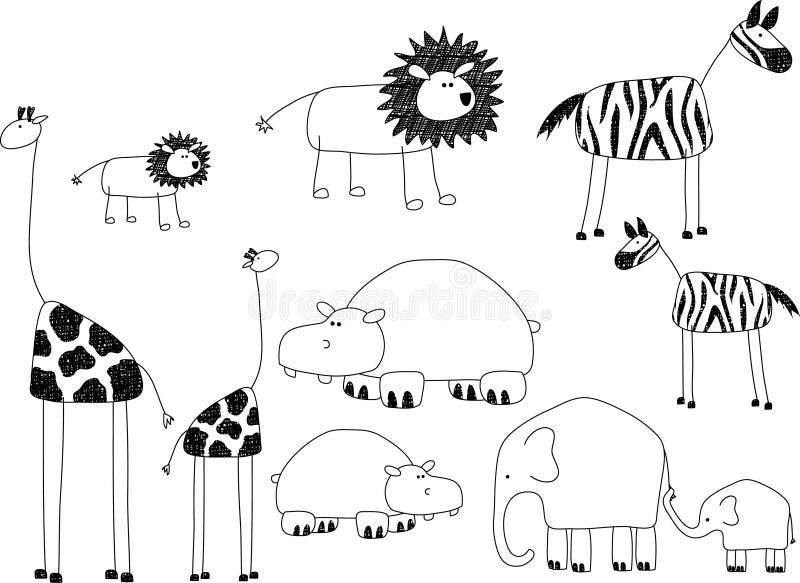 Animais africanos ilustração royalty free