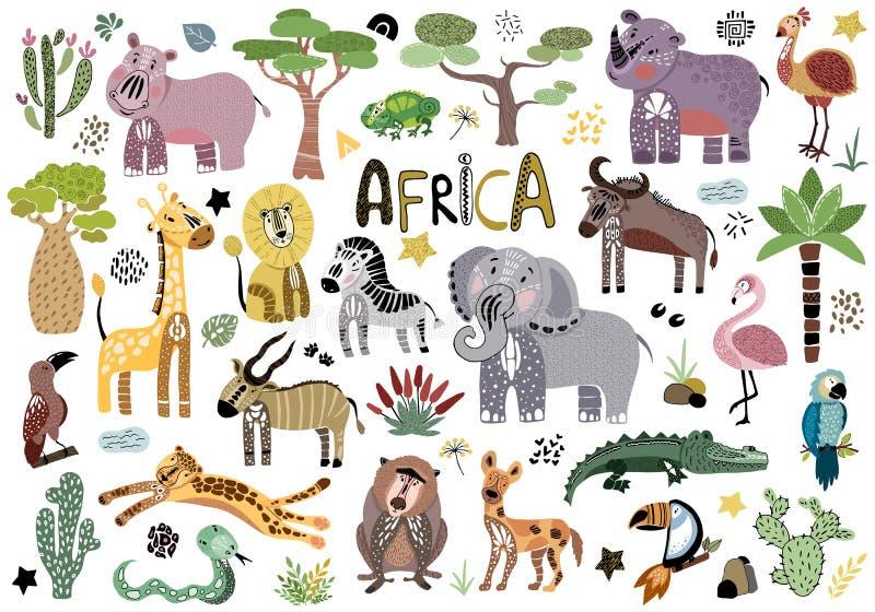 Animais africanos bonitos do vetor ilustração royalty free