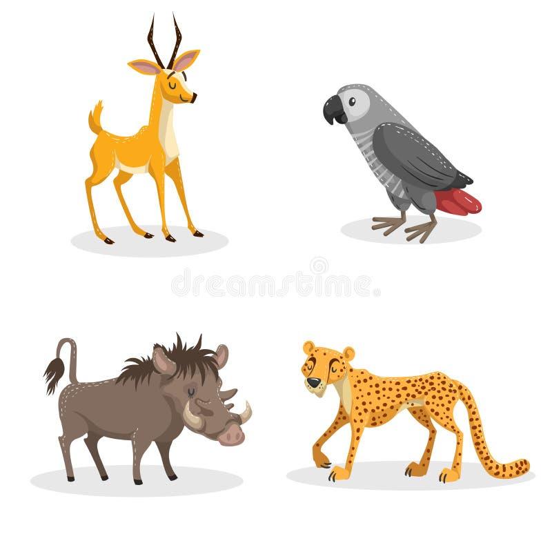 Animais africanos do estilo na moda dos desenhos animados ajustados Javali africano do porco, gazela cinzenta do papagaio, da chi ilustração do vetor