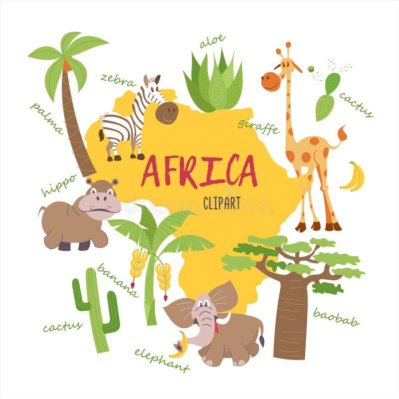 Animais africanos dos desenhos animados ilustração do vetor