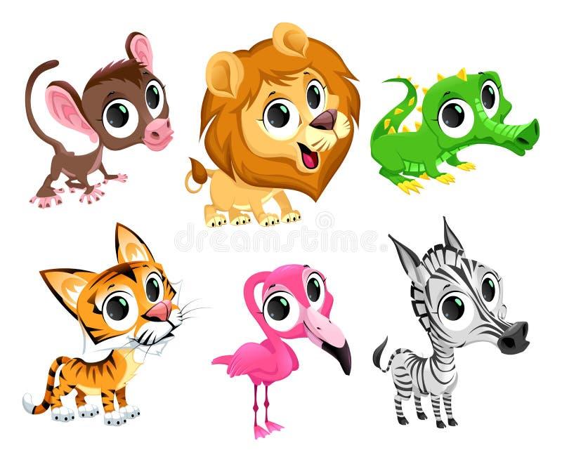 Animais africanos engraçados ilustração do vetor