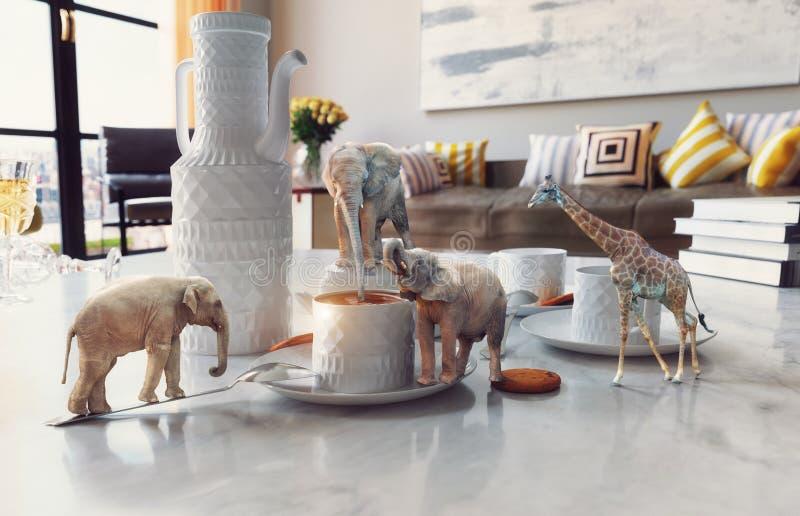 Animais africanos na mesa de centro ilustração royalty free