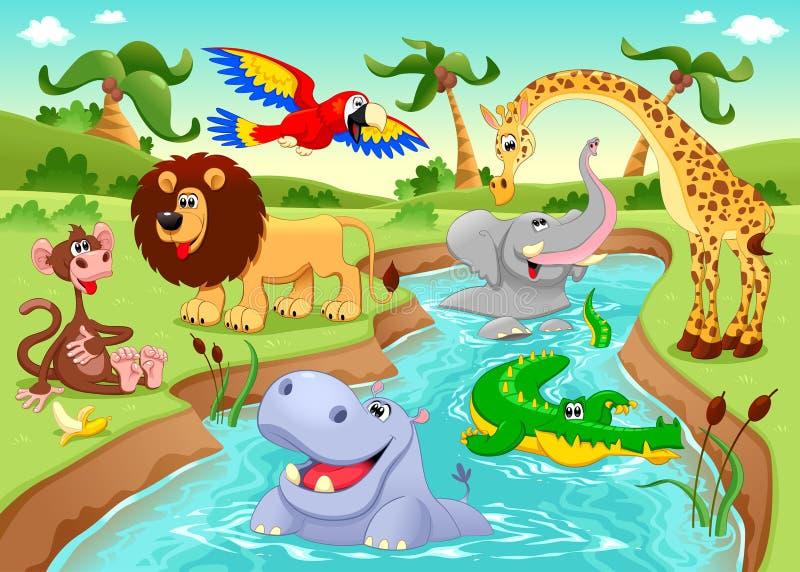 Animais africanos na selva. ilustração royalty free