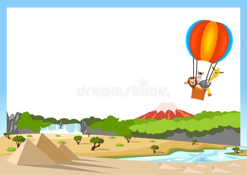 Animais africanos no balão de ar quente ilustração stock