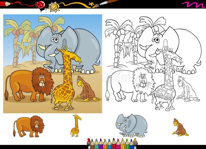 Animais africanos que colorem o grupo da página ilustração stock