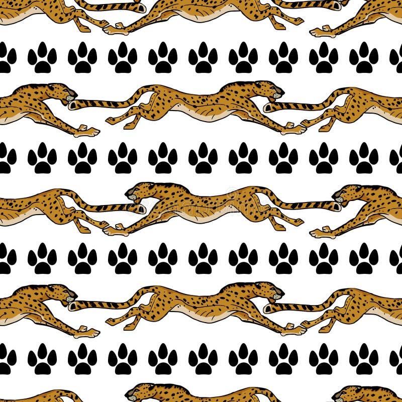 Animais africanos selvagens cheetah Ilustra??o desenhada m?o do vetor Teste padr?o sem emenda C?pia animalista ilustração stock