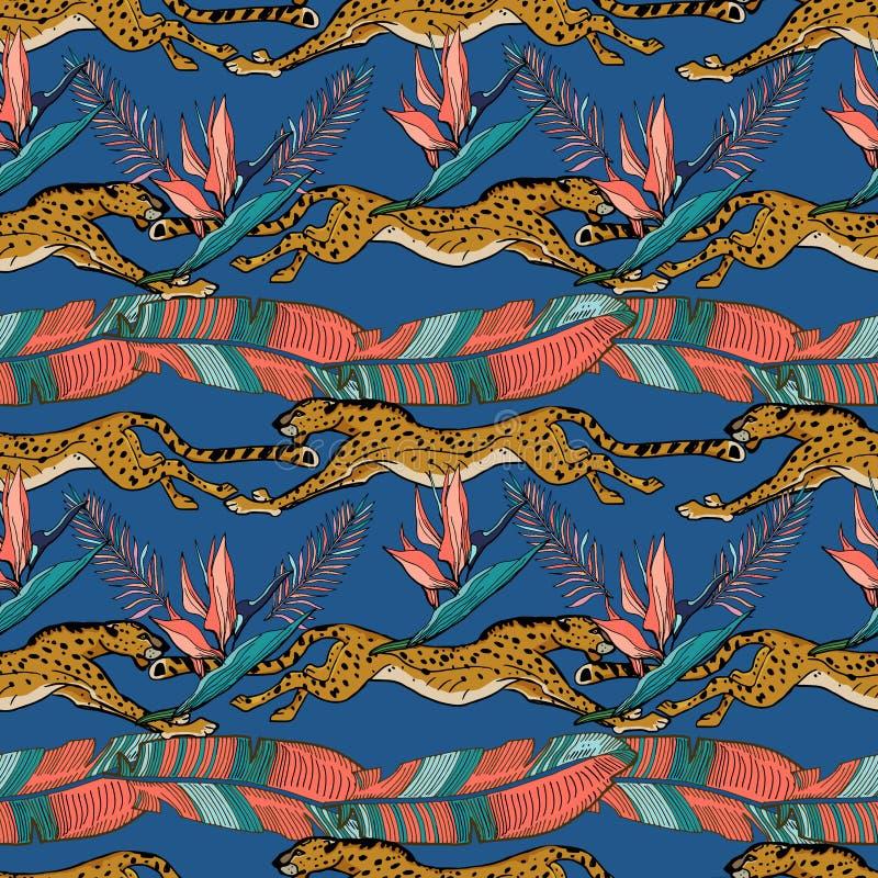 Animais africanos selvagens Chita e plantas tropicais Ilustra??o desenhada m?o do vetor Teste padr?o sem emenda ilustração stock