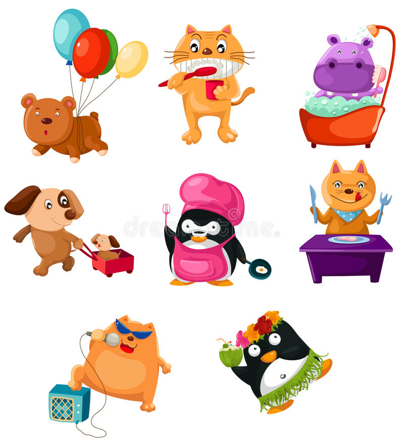 Animais ajustados ilustração stock
