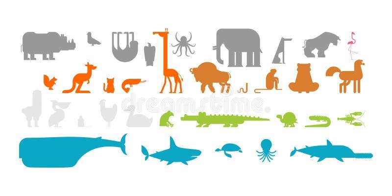 Animais ajustados Coleção do animal Animal bonito dos desenhos animados Naturezaselvagem da selva e da floresta de Fauna de co ilustração royalty free