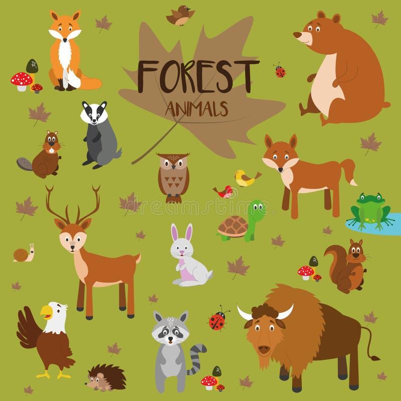 Animais ajustados da floresta do vetor ilustração do vetor
