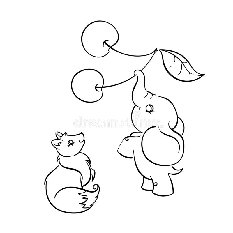 Animais amigáveis bonitos Fox e elefante com cereja ilustração do vetor