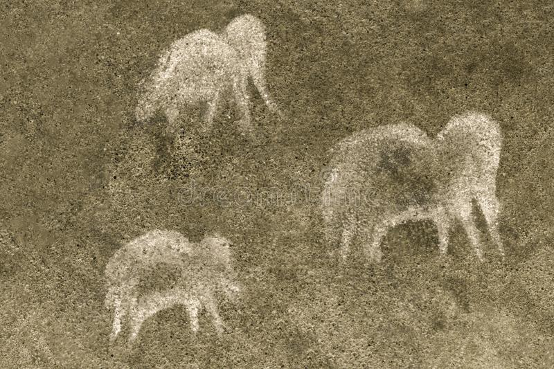 Animais antigos na parede da caverna ilustração stock