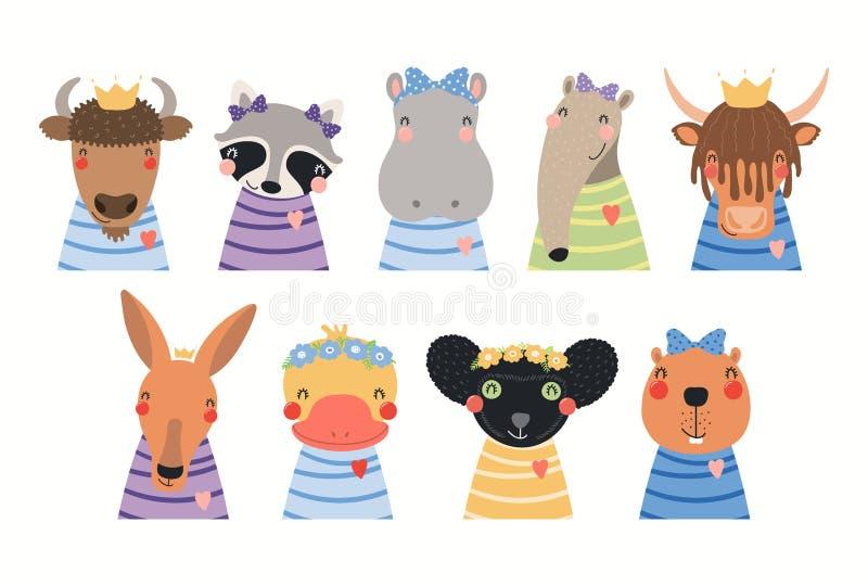 Animais bonitos ajustados ilustração royalty free