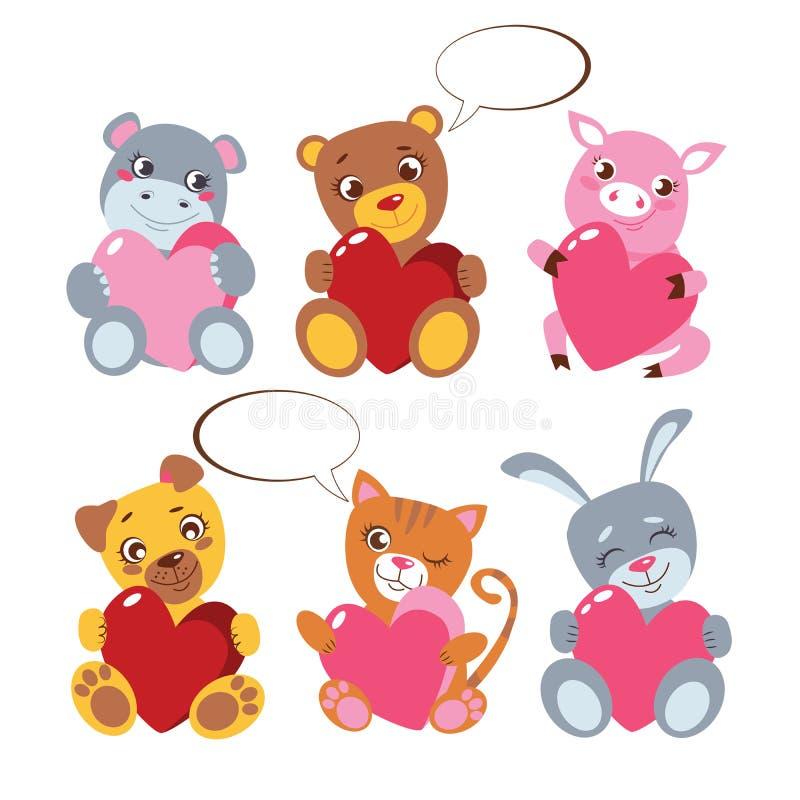 Animais bonitos com coleção ouvida no branco O brinquedo apresenta para o cartaz do vetor do dia do ` s do Valentim O coelho, gat ilustração do vetor